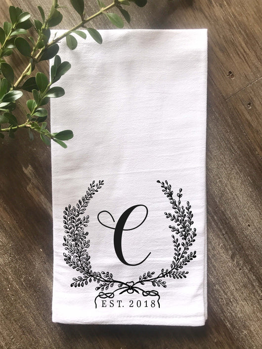 Vintage Wreath Monogram Flour Sack Towel - Returning Grace Designs