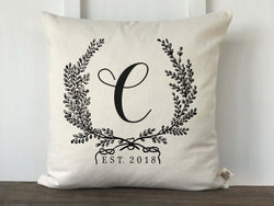 Vintage Wreath Monogram Pillow Cover - Returning Grace Designs