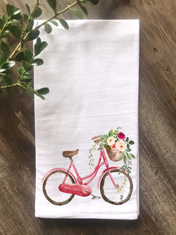 Watercolor Bicycle with Flowers Flour Sack Towel - Returning Grace Designs