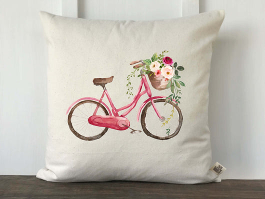 Watercolor Bicycle with Flower Basket Pillow Cover - Returning Grace Designs