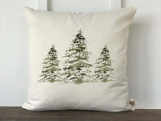 Watercolor 3 Christmas Trees Pillow Cover