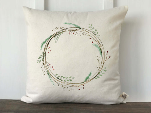 Watercolor Christmas Wreath Pillow Cover