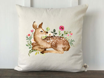 Watercolor Deer with Flowers Pillow Cover - Returning Grace Designs