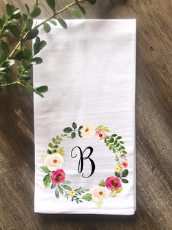 Watercolor Pink Floral Wreath Personalized Flour Sack Towel - Returning Grace Designs