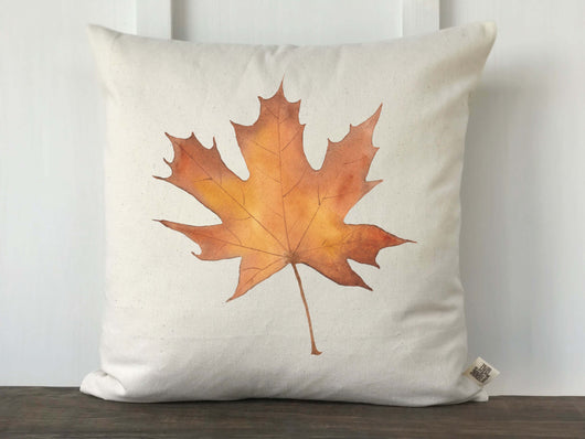 Fall Watercolor Maple Leaf Pillow Cover - Returning Grace Designs