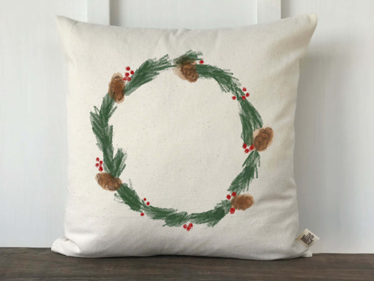Watercolor Pine Wreath Christmas Pillow Cover - Returning Grace Designs