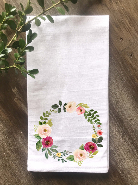 Watercolor Pink Flower Wreath Flour Sack Towel - Returning Grace Designs
