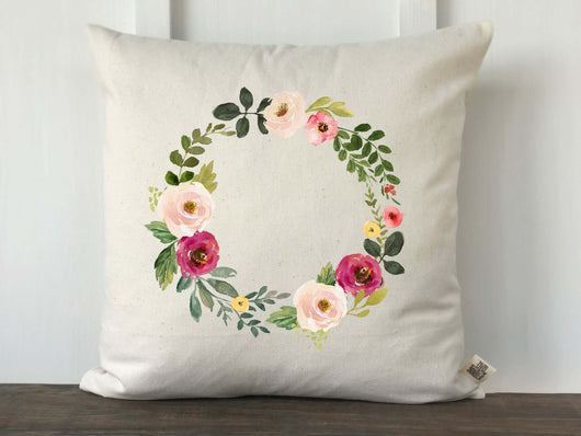 Watercolor Pink Floral Wreath Pillow Cover - Returning Grace Designs