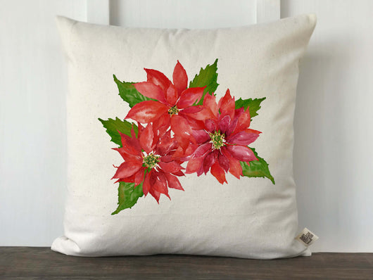 Watercolor Poinsettia Christmas Pillow Cover - Returning Grace Designs