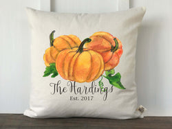 Personalized Fall Watercolor Pumpkin Pillow Cover - Returning Grace Designs