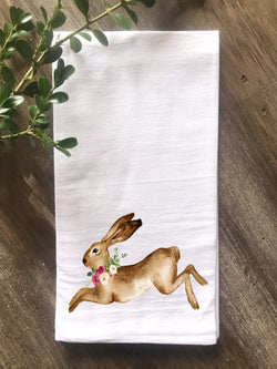 Watercolor Rabbit with Flowers Flour Sack Towel - Returning Grace Designs