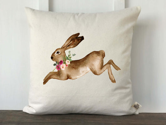 Watercolor Rabbit with Flowers Pillow Cover - Returning Grace Designs