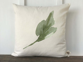 Watercolor Single Green Leaf Pillow Cover - Returning Grace Designs