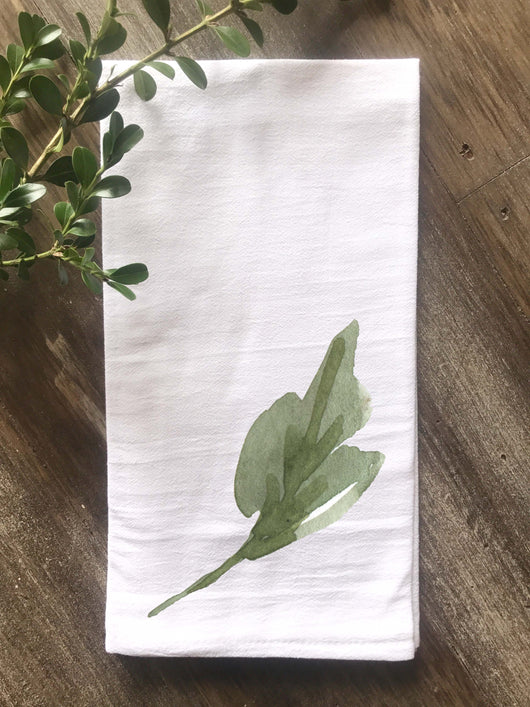 Watercolor Single Leaf Flour Sack Towel - Returning Grace Designs