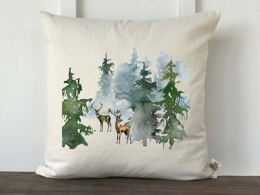 Watercolor Winter Deer Pillow Cover - Returning Grace Designs