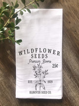 Wildflower Seeds Flour Sack Tea Towel - Returning Grace Designs