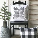 Cross Stitch Single Snowflake Pillow Cover - Returning Grace Designs