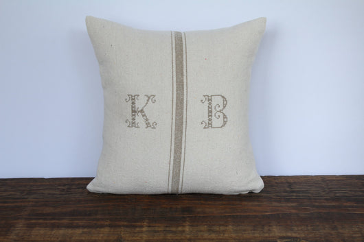 Grain Sack Pillow Cover - Tan Heirloom Font Monogram - Returning Grace Designs