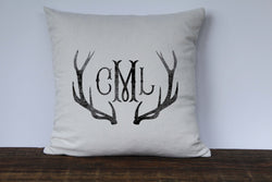Antler 3 Letter Monogrammed Pillow Cover - Returning Grace Designs