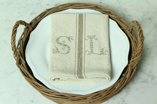 Grain Sack Monogrammed Napkin in Blue or Tan - Returning Grace Designs