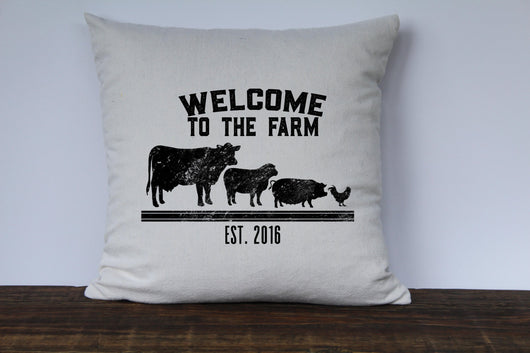 Welcome to the Farm Personalized Pillow Cover - Returning Grace Designs