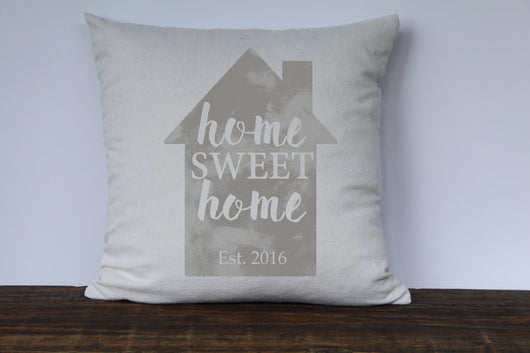 Home Sweet Home Personalized Pillow Cover in Light Gray - Returning Grace Designs