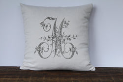 Floral French Monogram Pillow Cover - Returning Grace Designs