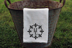 Circle Fleur De Lis Monogrammed Flour Sack Towel - Returning Grace Designs