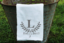 Laurel Wreath Personalized Flour Sack Towel with Initial and Est. Date - Returning Grace Designs