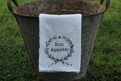 Bon Appetit Laurel Wreath with Fleur De Lis Flour Sack Towel/Kitchen Towel - Returning Grace Designs