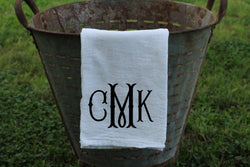 Fishtail Font Monogrammed Flour Sack Towel - Returning Grace Designs