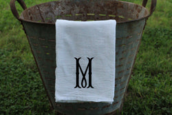 Single Letter Fishtail Font Monogrammed Flour Sack Towel - Returning Grace Designs