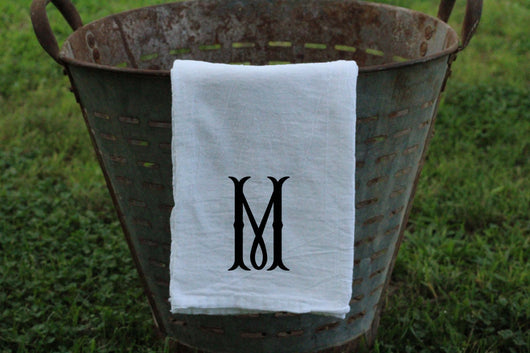 Single Letter Fishtail Font Monogrammed Flour Sack Towel