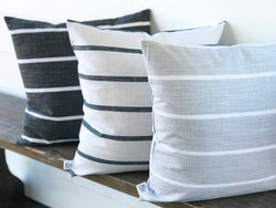 Horizontal Stripe Washed Linen Farmhouse Pillow Cover - Multiple Colors - Returning Grace Designs