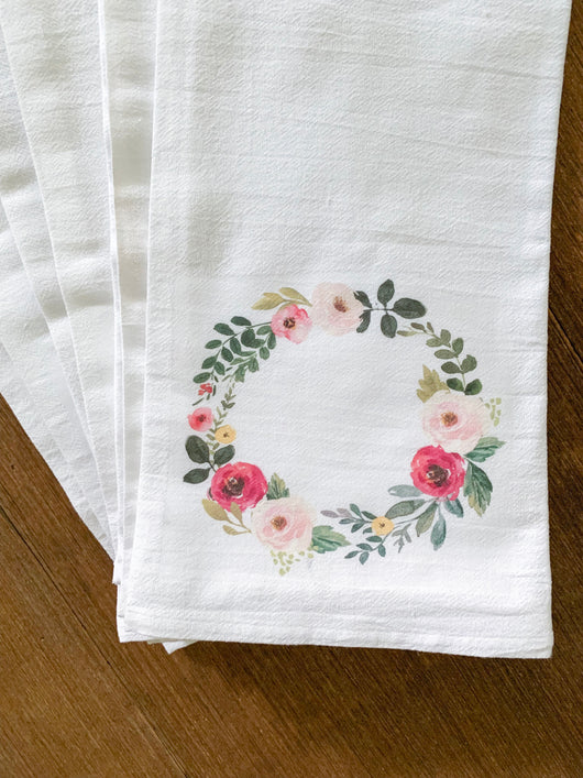 Spring Watercolor Wreath Sample Towels - Set of 6 - Returning Grace Designs