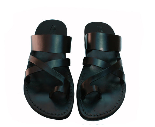 Black Bath Leather Sandals - Handmade Sandals, Jesus Sandals, Unisex Sandals, Flip Flop Sandals, Flat Leather Sandals, Genuine Leather Sandals - Sandali_Sandals