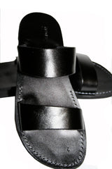 Leather Sandals - Black Bio Handmade Leather Sandals for Men & Women