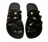 Leather Sandals - Black Buckle-Free Handmade Leather Sandals for Men & Women