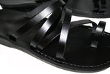 Black Buckle-Free Handmade Leather Sandals for Men, Women & Children