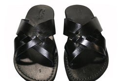 Black Capri Leather Sandals - Handmade Sandals, Jesus Sandals, Unisex Sandals, Flip Flop Sandals, Flat Leather Sandals, Genuine Leather Sandals - Sandali_Sandals