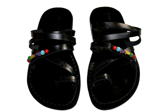 Black Decor Buckle-Free Handmade Leather Sandals for Men, Women & Children