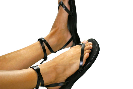 Black Ankle-Strap Leather Sandals - Handmade Sandals, Jesus Sandals, Unisex Sandals, Flip Flop Sandals, Flat Leather Sandals, Genuine Leather Sandals - Sandali_Sandals