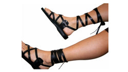 Black Gladiator Handmade Leather Sandals for Men, Women & Children