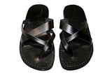 Black Tumble Leather Sandals - Handmade Sandals, Jesus Sandals, Unisex Sandals, Flip Flop Sandals, Flat Leather Sandals, Genuine Leather Sandals - Sandali_Sandals