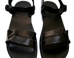 Black Bio Leather Sandals - Handmade Sandals, Jesus Sandals, Unisex Sandals, Flip Flop Sandals, Flat Leather Sandals, Genuine Leather Sandals - Sandali_Sandals