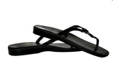 Leather Sandals - Black Skinny Handmade Leather Sandals for Men & Women