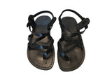 Leather Sandals - Black Triple Handmade Leather Sandals for Men & Women