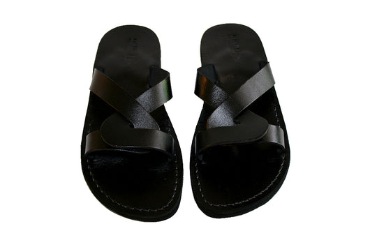 Leather Sandals - Black Tumble Handmade Leather Sandals for Men & Women