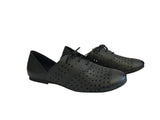 Vegan Shoes - Black Oxford Vegan Flat Tie Shoes For Women