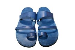 Leather Sandals - Blue Thong Handmade Leather Sandals for Men & Women